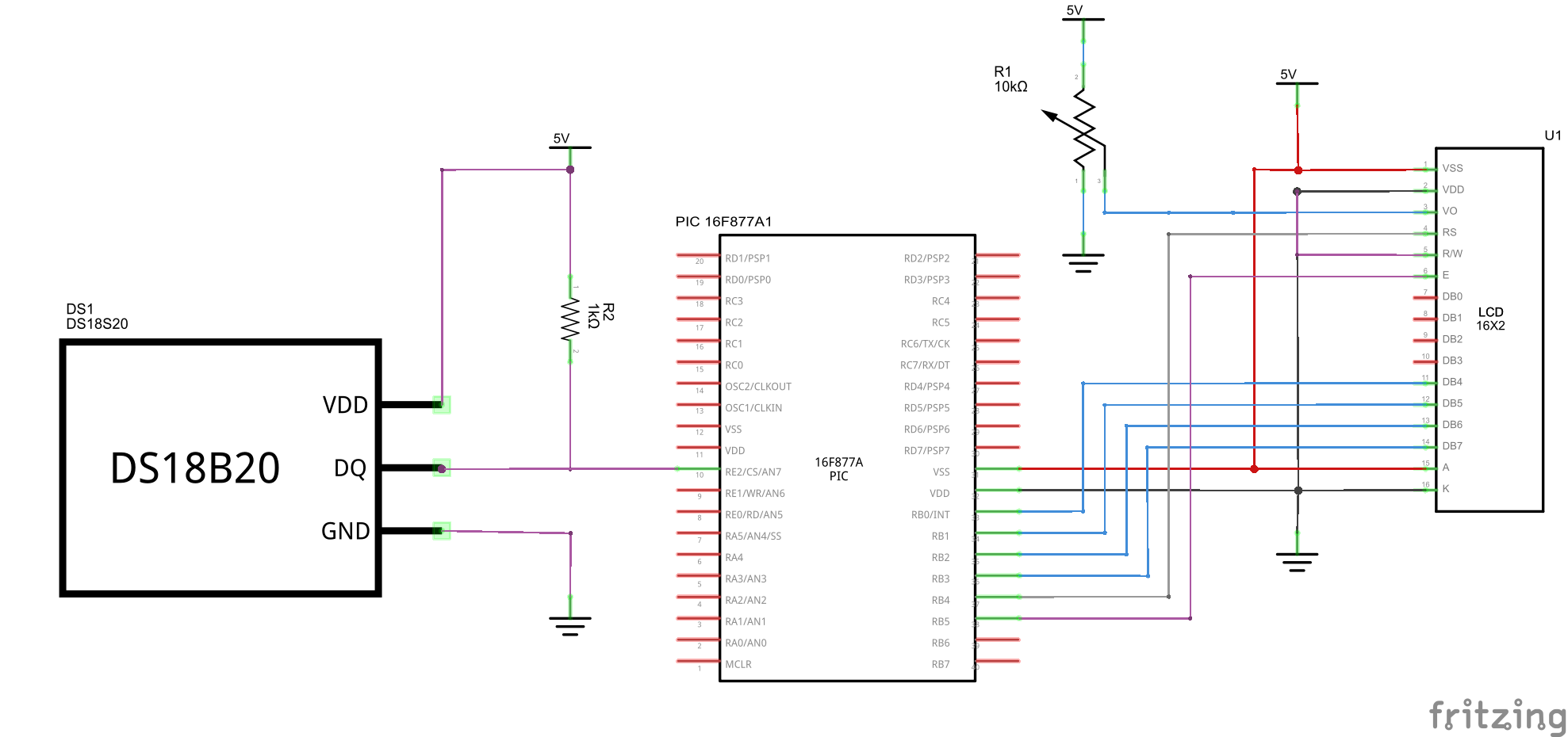 Pic16f877 And Ds1820 Temperature Sensor Example Pic Learning Lcd Electronic Thermometer Circuit Schematic