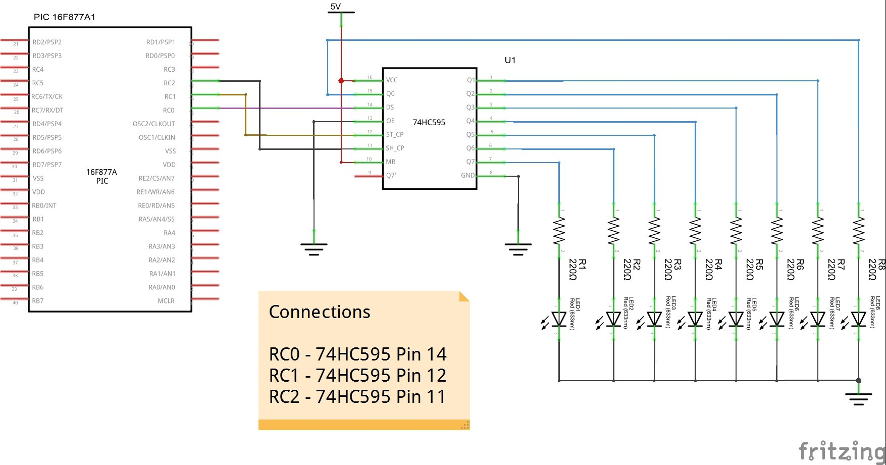 PIC16F877 and 74HC595 shift register example | PIC learning