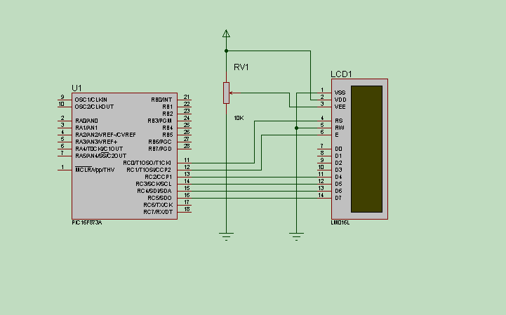 pic16f873 and lcd