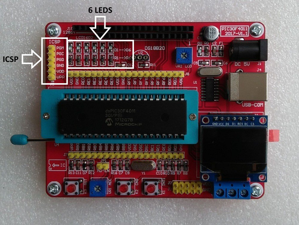DsPIC 30F4011 Development Board LED example